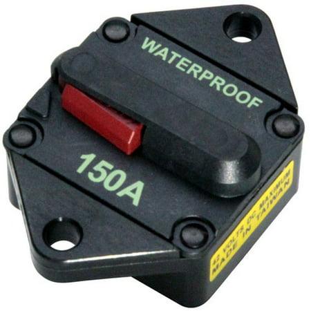 SeaSense Panel Mount Waterproof High Amp Circuit Breaker with Manual Switch Reset, 150A Circuit Breaker Mounting Panel