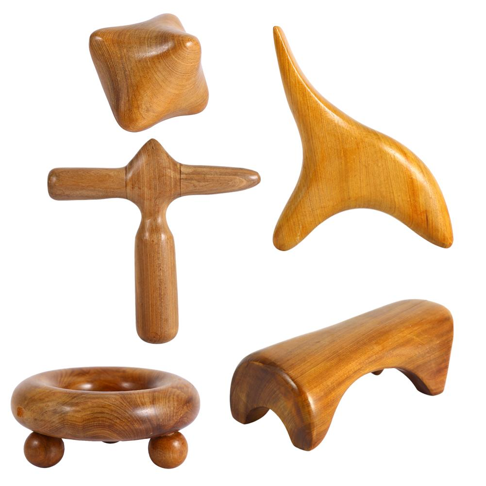 Tbest Wood Spa Therapy, Wood Massager,5Styles Vietnam Fragrant Wood Body Foot Reflexology Acupuncture Thai Massager Roller Therapy