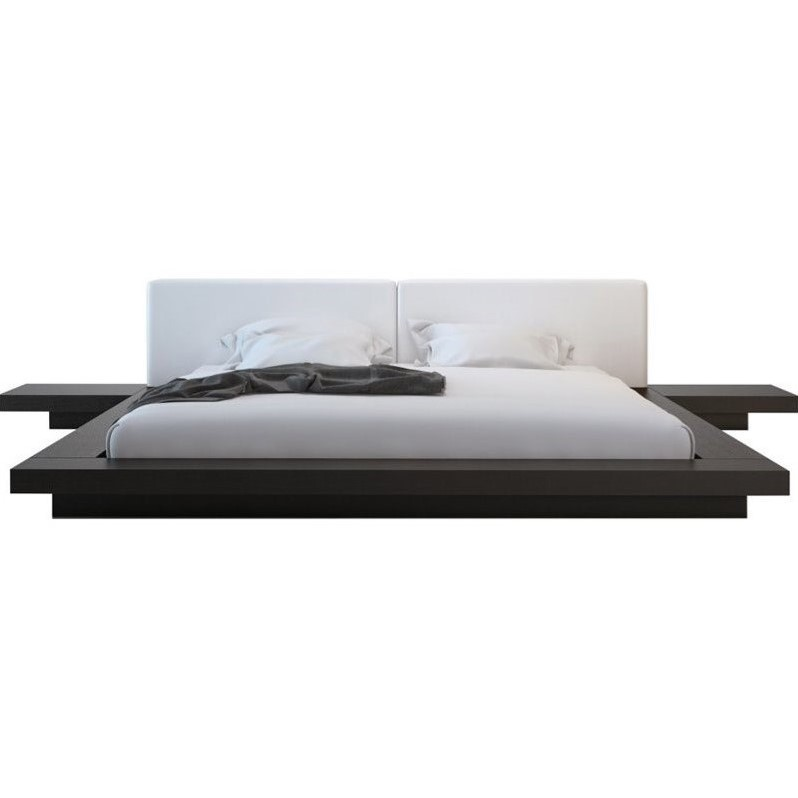 Modloft Worth Platform Bed in Wenge and White Leather-Cal...