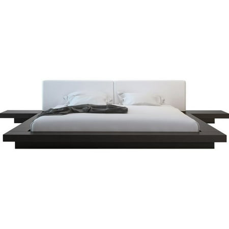 Modloft Worth Platform Bed in Wenge and White Leather-Queen