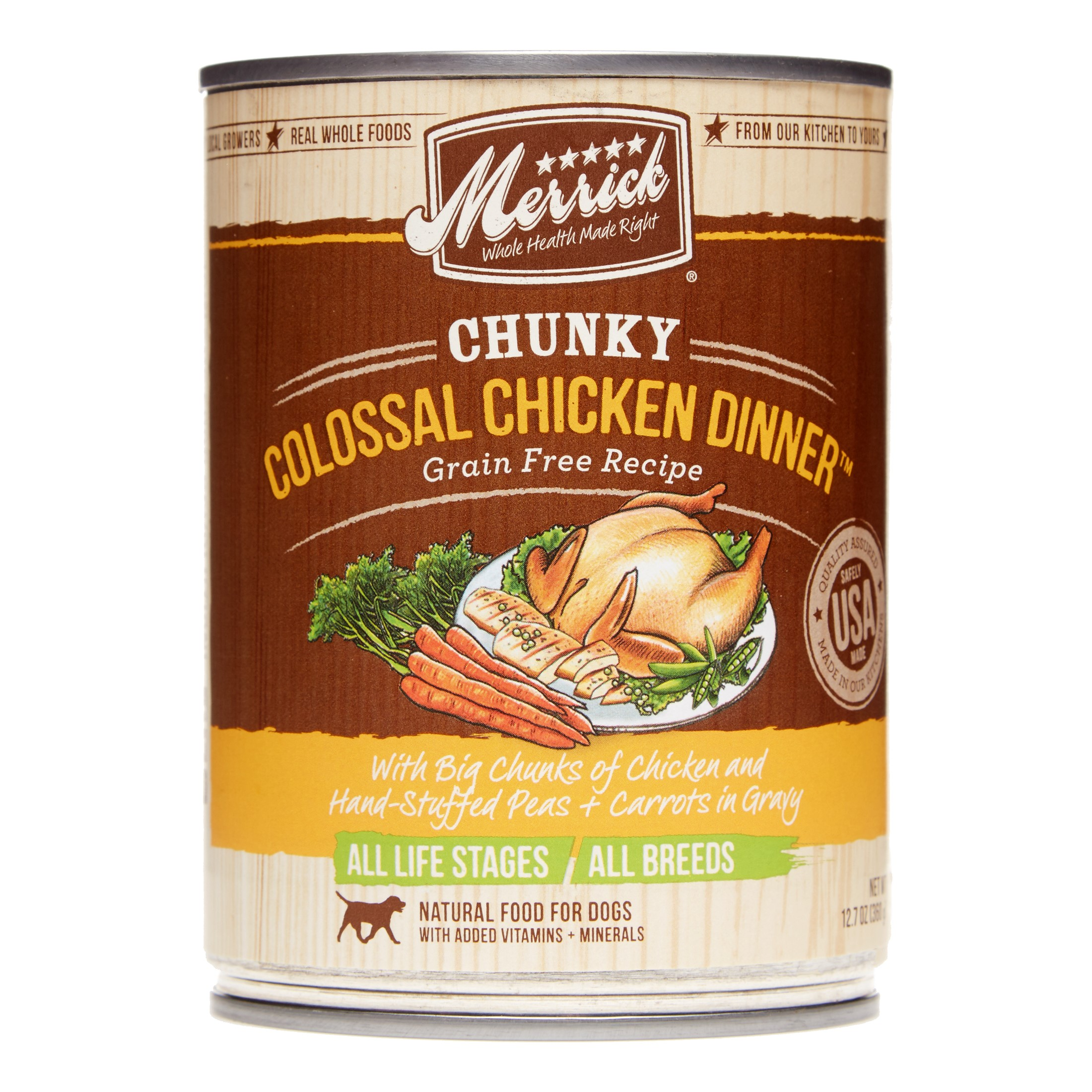 Merrick Grain-Free Chunky Colossal Chicken Dinner Wet Dog Food, 12.7 oz, Case of 12