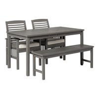 Delacora WE-BDW4SDT 4 Piece Acacia Framed Outdoor Dining Set