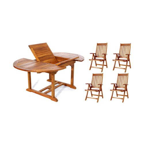 Click here to buy All Things Cedar Teak Oval Folding Armchair Patio Dining Room Set Seats 4 by All Things Cedar.