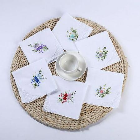 AkoaDa 6/12 Pcs Cotton Embroidery Ladies' Vintage Floral Lace Handkerchiefs for Wedding Party