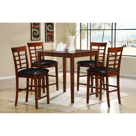 porter 5 piece counter height dining set walnut