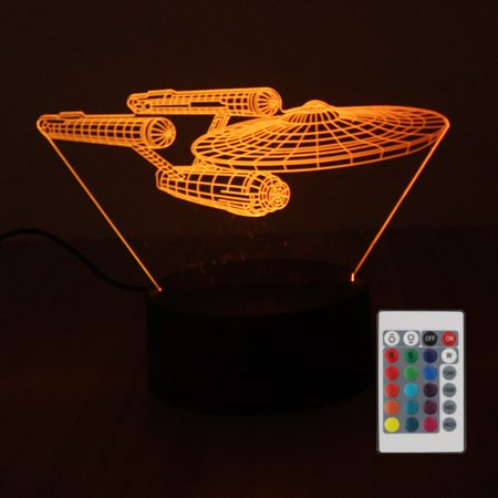 DC4.5V 5W 3 D Decorative Airship Design 10 LED RGB Night Light with Remote Control Beside Lamp Desk Lighting Sensitive Tou- Sensor Supported Brightness Adjustable Dimmable/ 16 Colors Changing/ Flash F