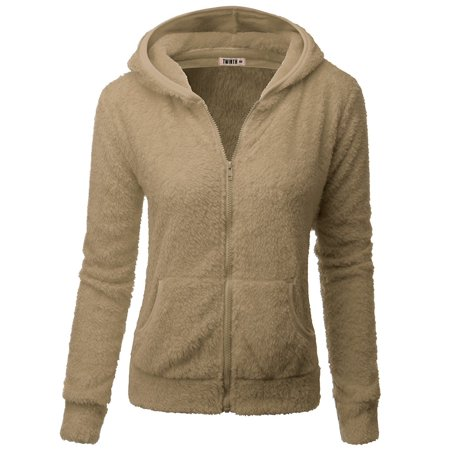 Doublju Womens Day-to-Night Pocket Detail 3/4 Sleeve Big Size Hooded Fleece Outwear BEIGE - Long White Hooded Cloak