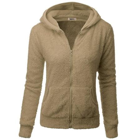 Doublju Womens Day-to-Night Pocket Detail 3/4 Sleeve Big Size Hooded Fleece Outwear BEIGE S