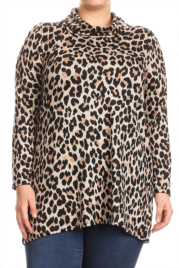 Women's PLUS Trendy Print Long Sleeves Relaxed Fit Top