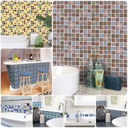 18Pcs Mosaic Tile Stickers Backsplash Self Adhesive Transfer Kitchen Wall Floor Decals