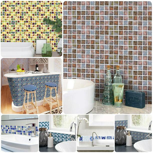 18pcs Mosaic Tile Stickers Backsplash Self Adhesive Transfer Kitchen Wall Floor Decals Walmart Com Walmart Com