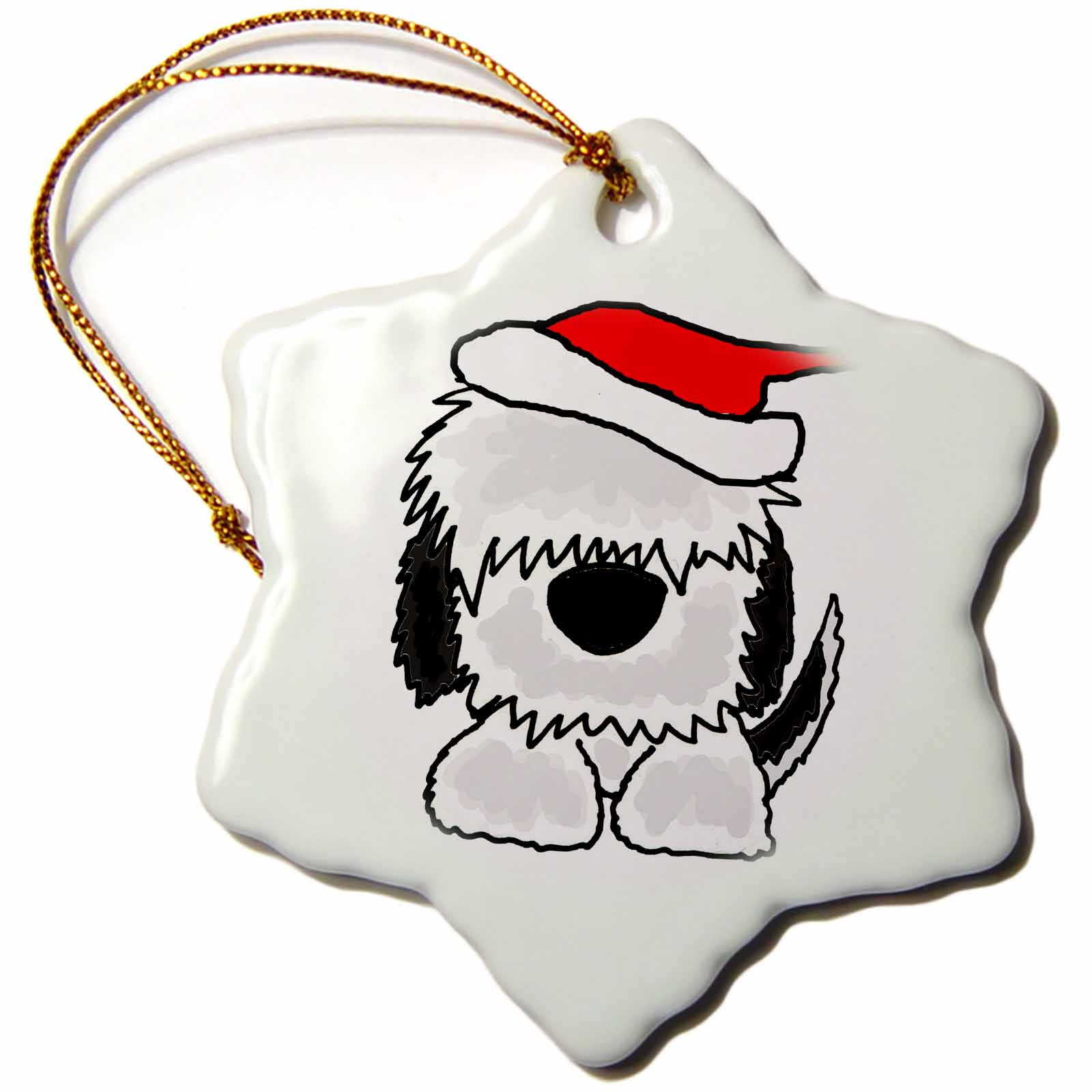 3dRose Funny Old English Sheepdog in Santa Hat Christmas Art, Snowflake Ornament, Porcelain, 3-inch
