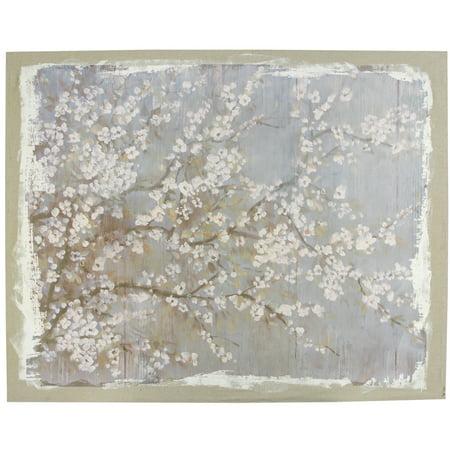 A&B Home Saison White Cherry Blossom Canvas (Falling Cherry Blossoms)