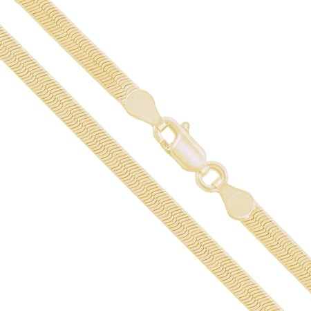 """10k Yellow Gold Solid Flat Herringbone Chain 2.85mm Necklace 16"""""""