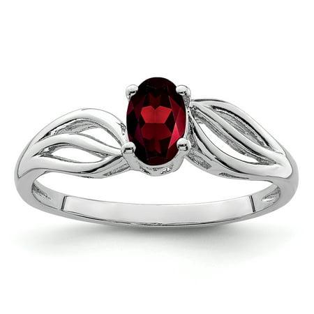 Sterling Silver Garnet Ring. Gem Wt-0.58ct Band Garnet Gemstone Ring