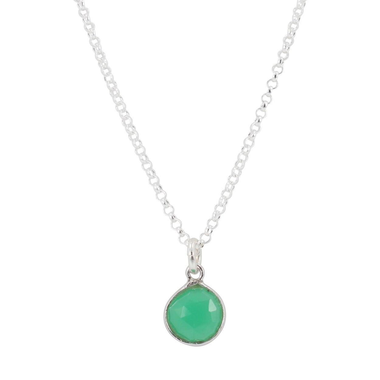 Silver Gemstone Necklace, #6300-ss (Chrysoprase) by