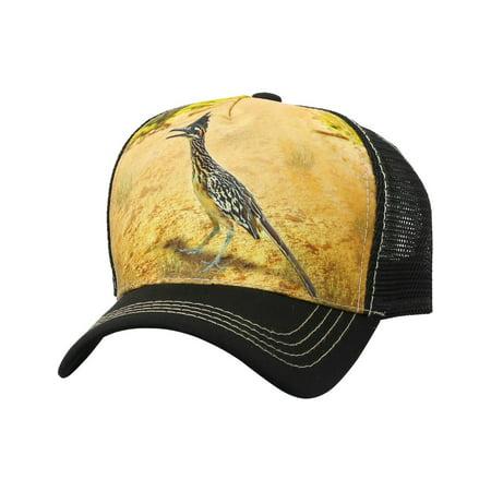 TRUCKER HAT Animal Farm ROAD RUNNER BIRD Safari Baseball Cap Adjustable Mesh (AP38_BLACK) - Farm Hats