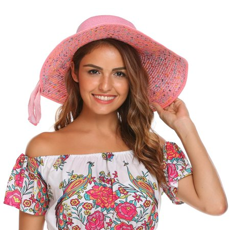b85c6ffce44 Women Big Bowknot Straw Hat Floppy Foldable Roll up Wide Brim Sun Hat Beach  Cap HFON