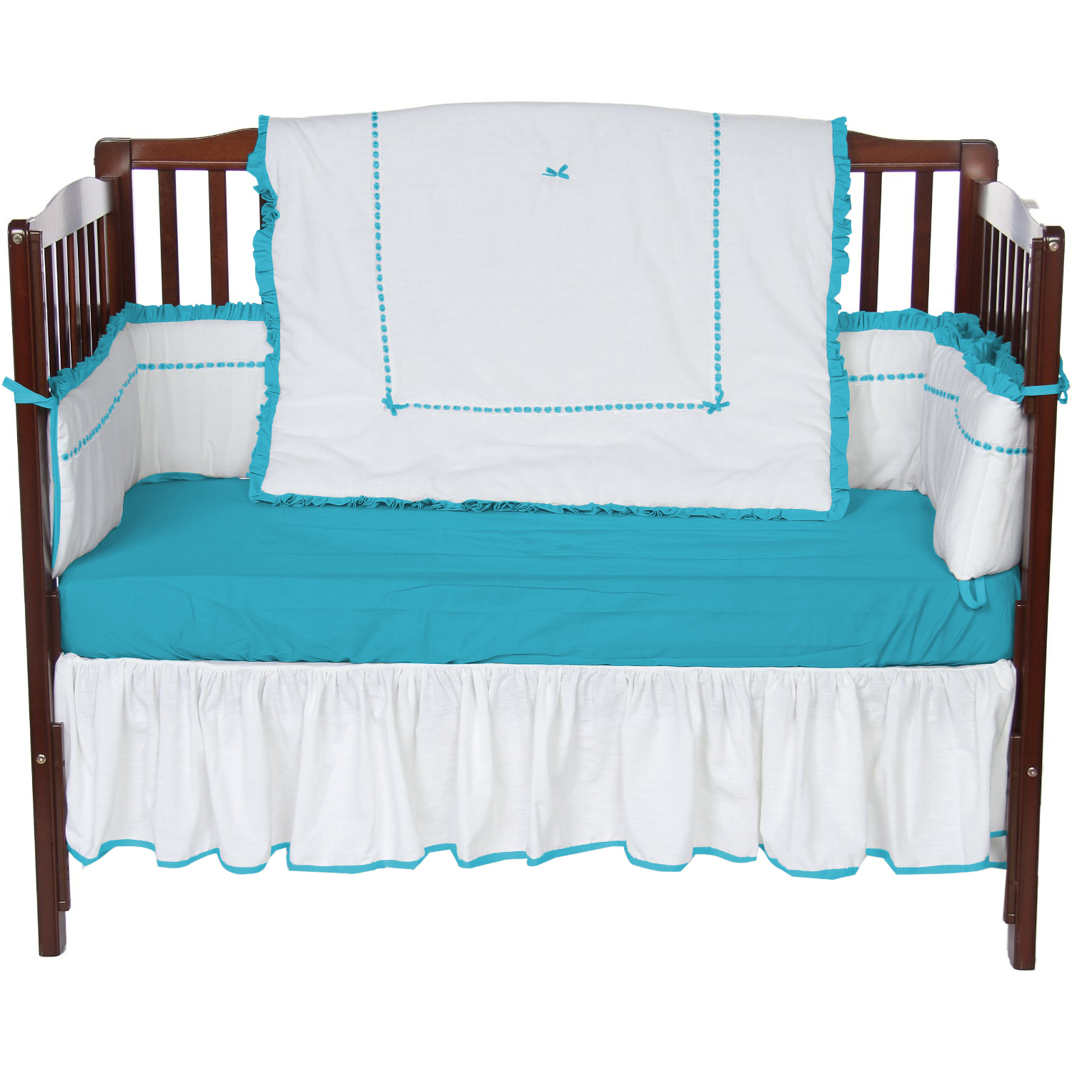 Baby Doll Bedding Unique 4 Piece Crib Bedding Set in aqua by Baby Doll Bedding