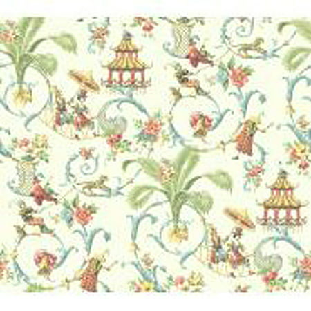 Waverly Classics Mandarin Prose Wallpaper, Cream/Wedgwood blue/Coral/Amber/Sage