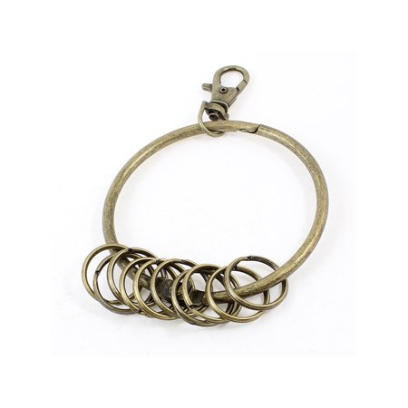 Bronze Tone Lobster Clasp Jailors Keyring 10 Loops Key Chain Ring 2.95