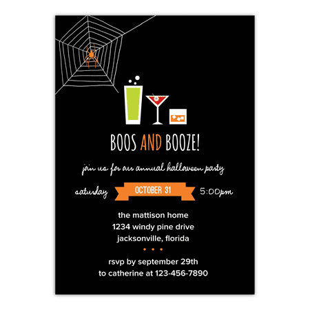 Classroom Halloween Party Invitation (Personalized Halloween Invitation - Boos and Booze - 5 x 7)