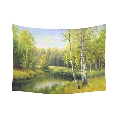 - PHFZK Nature Landscape Scenery Wall Art Home Decor, The Wood River in Autumn Tapestry Wall Hanging 80 X 60 Inches