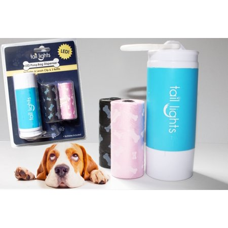 Tail Lights LED Poop Bag Dispenser with Leash Clip & 3 Refills (30 Bags Total), Multiple Colors (Pooping Dispensers)