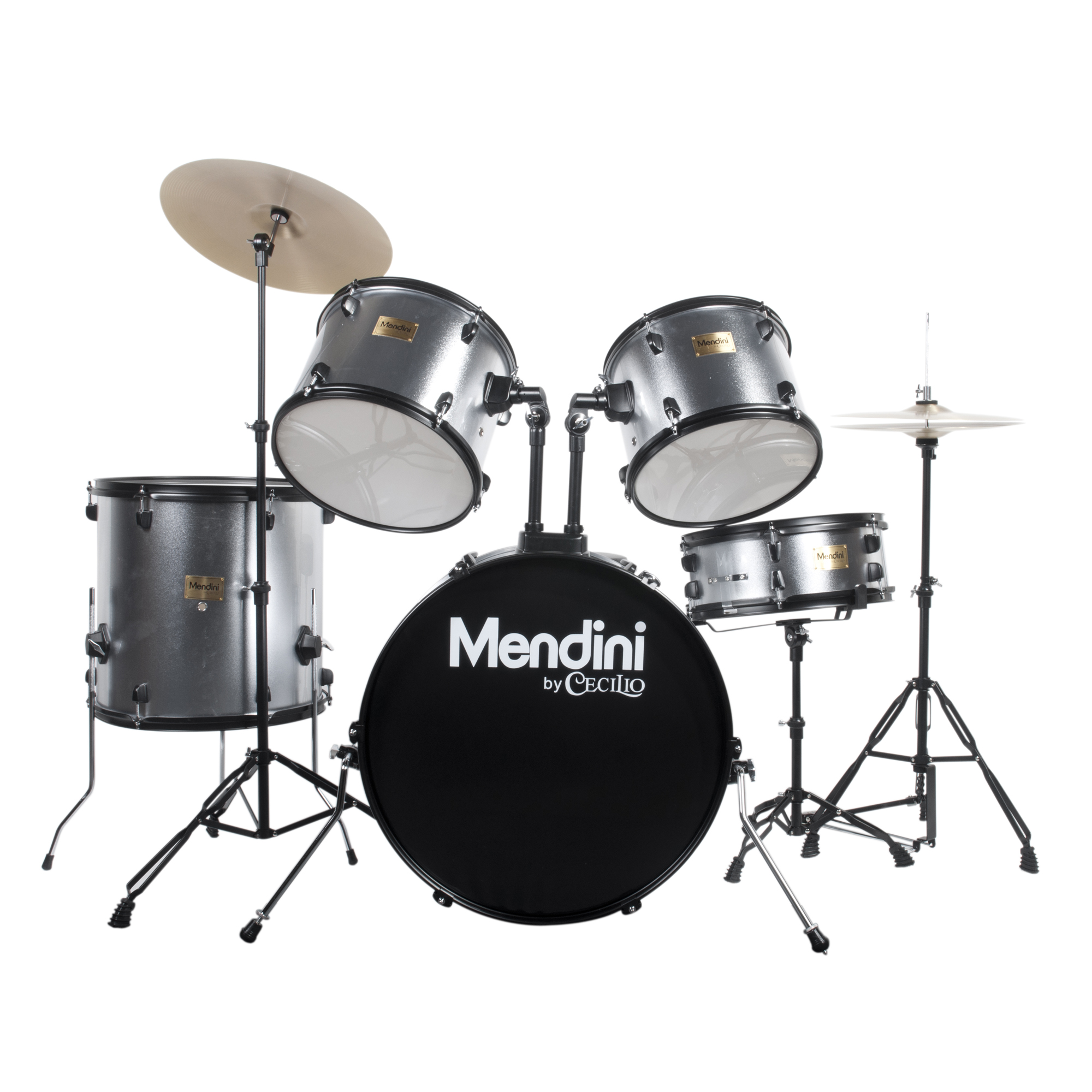 Mendini by Cecilio Complete Full Size 5-Piece Adult Drum Set w/ Cymbals Pedal Throne Sticks, Metallic Silver MDS80-SR
