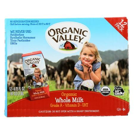 Organic Valley Single Serve Aseptic Milk - Whole - Case of 12 - 6.75oz Cartons (Milk Carton Opening)