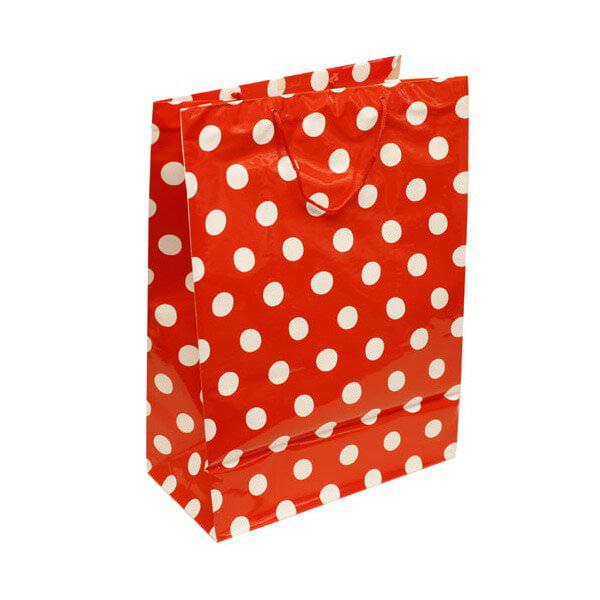 JAM Polka Dot Bags - 17 x 23 x 9 - Red -100/pack