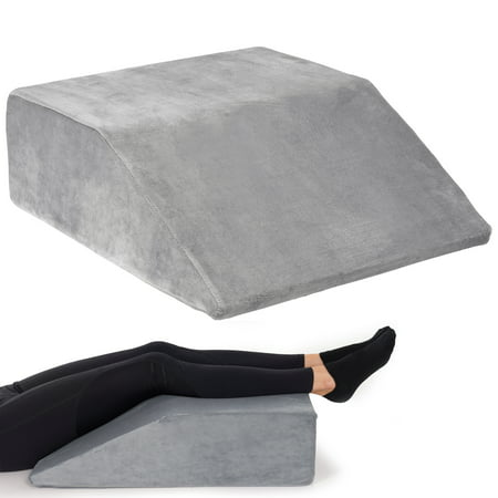 Leg Elevation Wedge Pillow With Full Memory Foam Top, High Density Leg Rest Elevating Pillow- Relieves and Recovers Foot and Ankle Injury, Leg Pain, Hip and Knee Pain, for Blood Circulation Wedge Ankle Lace