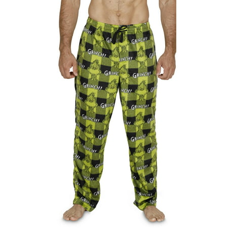 Dr. Seuss The Grinch Mens Green Plaid Microfleece Sleep Pants Pajama Bottoms, Green Plaid, Size: Medium (Grinch Halloween Night)