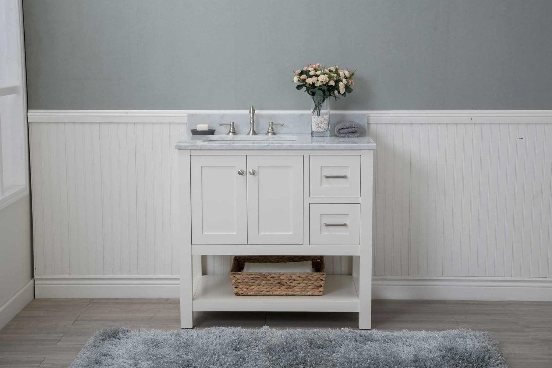 "Cabinet Mania White Shaker 36"" Bathroom Vanity Open Shelf ..."