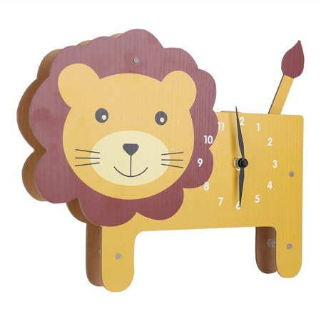 Tooarts Cartoon Animal Clock, Swinging Lion Clock, MDF Wooden Clock, Wall Clock for Kids Room Living Room, Home Decor, No Assembly Required, One AA Battery Operated(not included) - image 2 of 7