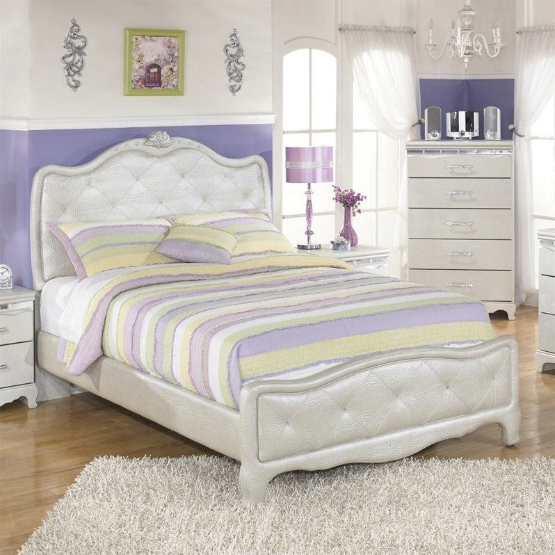 Ashley Zarollina Faux Croc Leather Upholstered Twin Bed In Silver