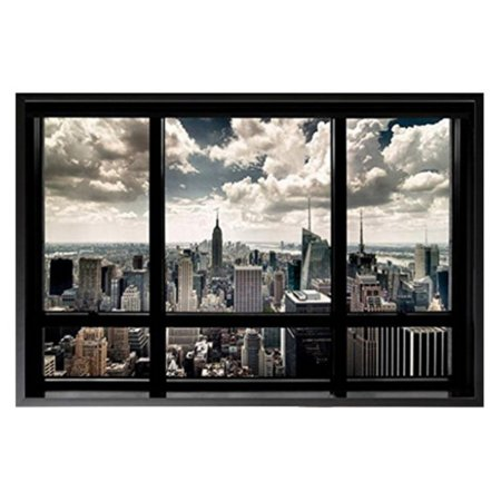 buyartforless New York City Window Manhattan Skyline Chrysler Building Framed Wall Poster