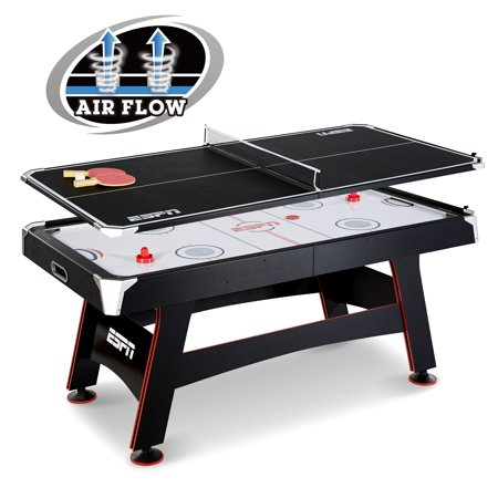ESPN 72u0022 Air Hockey Table & Table Tennis Top, Accessories Included, Black/Red