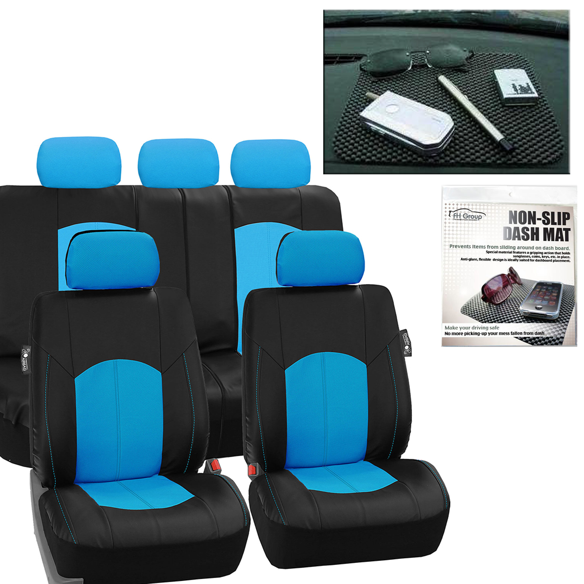 FH Group, Perforated Leather Seat Covers for Auto Car Sedan SUV Van, Full Set with Auto Dash Grip Pad, 8 Colors