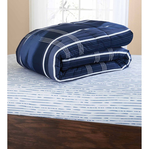 mainstays navy plaid bed in a bag coordinated bedding set walmartcom
