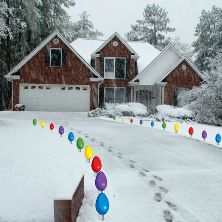 Giant 'Bulb' Pathway Markers 20 'Bulbs' + Stakes- Christmas Yard Sign Decorations - Do Not Light Up