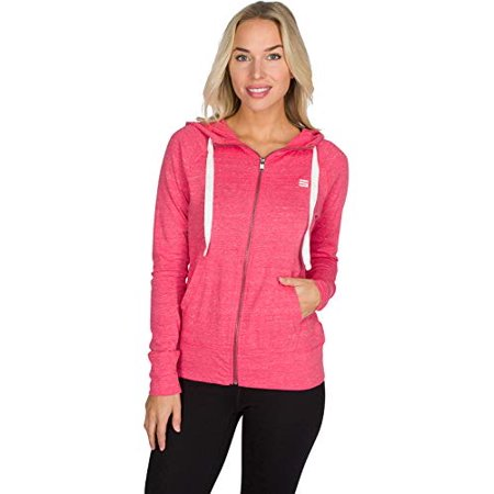 Dry Fit Sweatshirts for Women, Lightweight Zip Up Hoodie Sweater - Full Zip Hooded Jacket Deep Coral ()