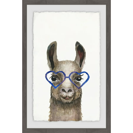 Marmont Hill Blue Heart Glasses Framed Wall Art ()