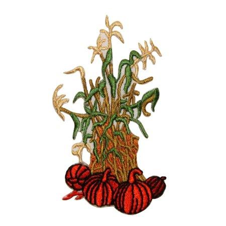 ID 1251 Pumpkins With Corn Stalks Patch Fall Harvest Embroidered IronOn Applique (Decorative Corn Stalks)