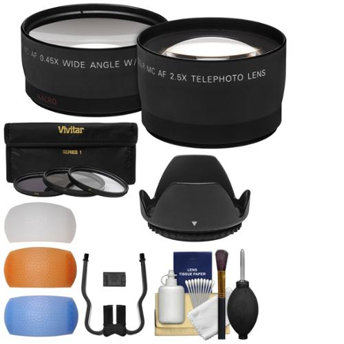 Essentials Bundle for Canon Rebel SL1, T5, T5i, T6i, T6s DSLR Camera & 18-55mm Lens + Telephoto & Wide-Angle Lenses + 3 UV/CPL/ND8 Filters + 4 Diffusers + Lens Hood Kit
