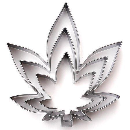 Marijuana Zen Leaf Cookie Cutter 3 Piece Set - Stainless Steel