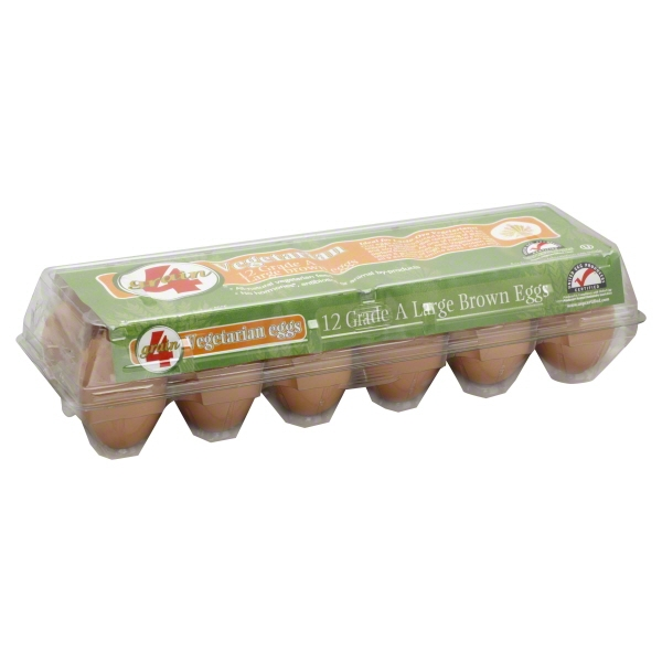 Image of 4 Grain Vegetarian Large Grade A Brown Eggs, 12 ct