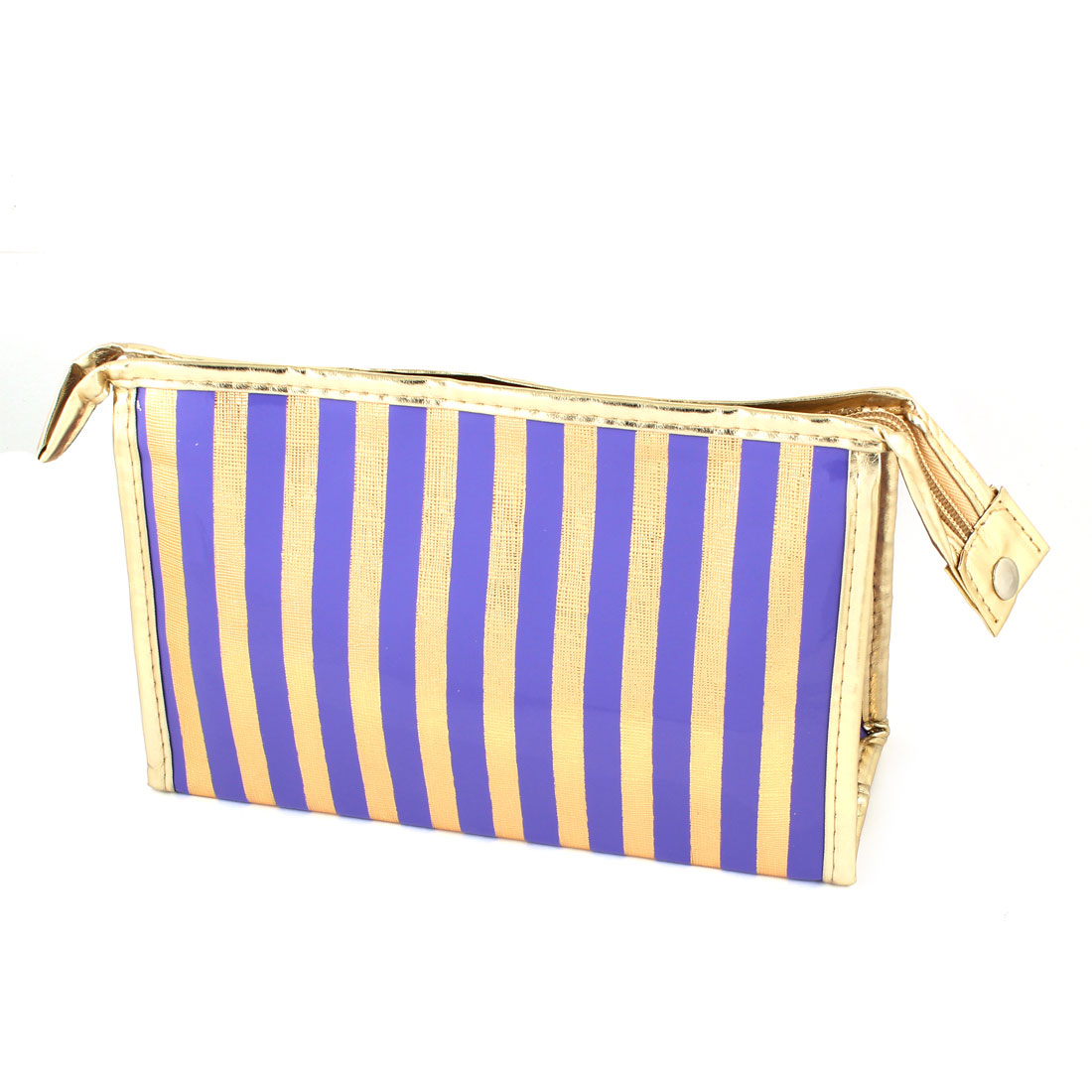 Rectangle Nylon Lining Faux Leather Stripes Pattern Waterproof Cosmetic Makeup Bag
