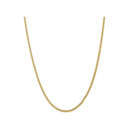 24 Inch 14k Yellow Gold 3mm Parisian Wheat Chain Necklace