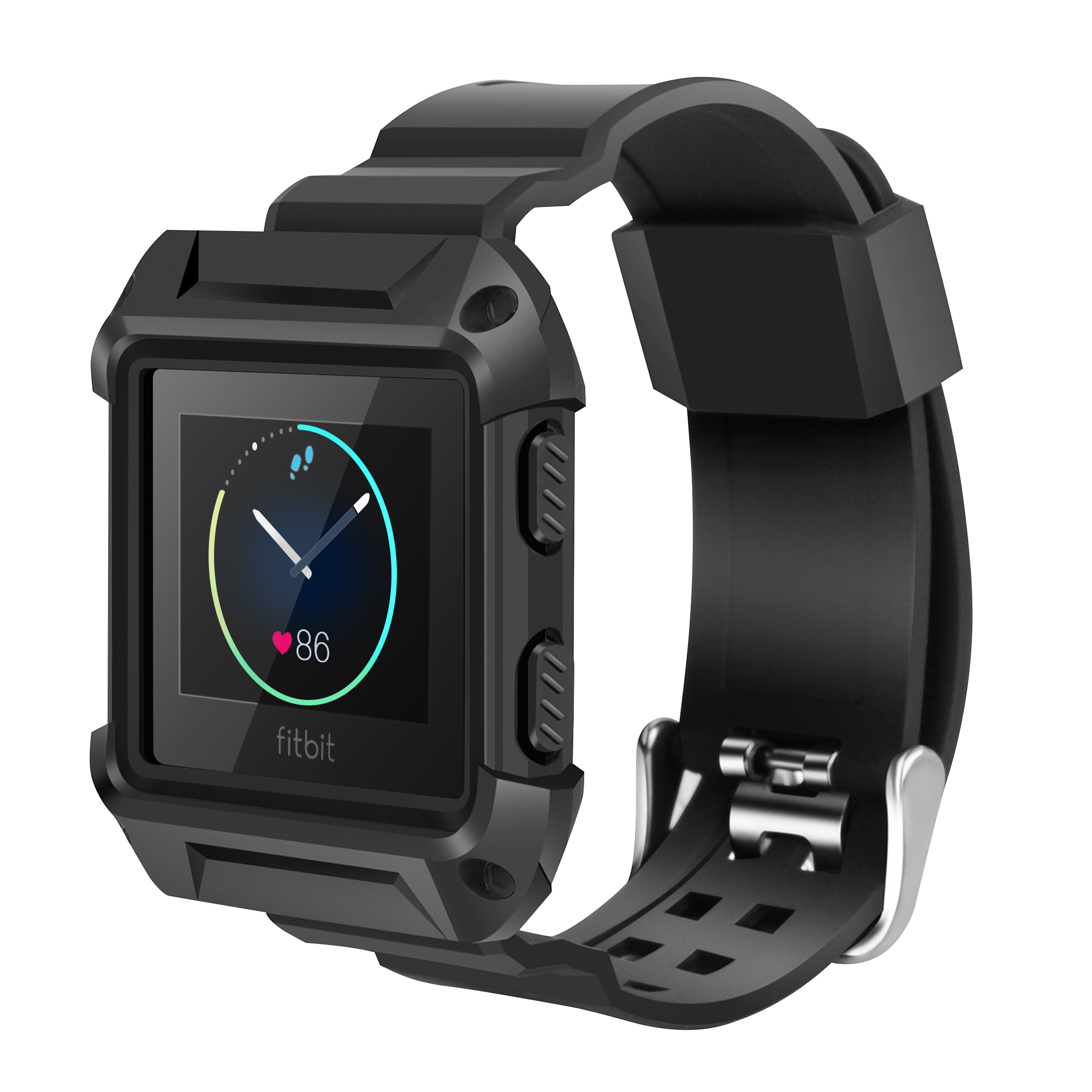 For Fitbit Blaze Bands with Protective Case, Rugged Case Strap Bands for Fitbit Blaze Fitness Smart Watch (Black)